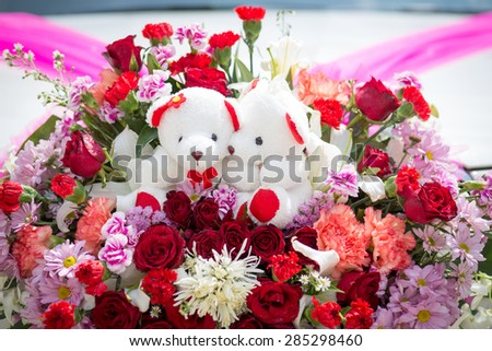 wedding bouquet with rose bush, Ranunculus asiaticus as a background #285298460