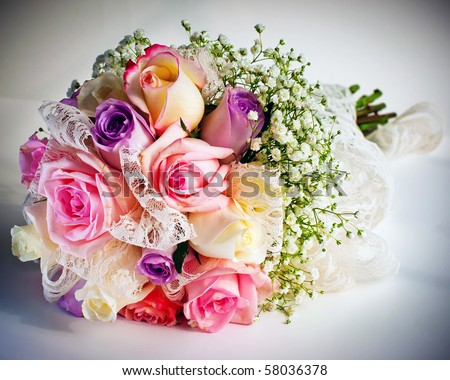 Wedding bouquet with roses.