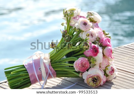 Wedding bouquet with the sea in background