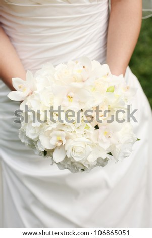Wedding Bouquet with White Roses and White Orchids
