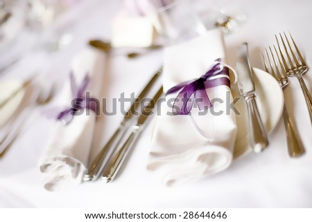 stock photo Wedding Breakfast Table Layout And Gifts