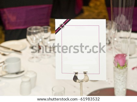 stock photo Wedding breakfast table setting with blank copy space for your