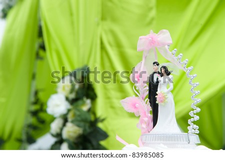 Wedding bride and groom couple doll on cake of an outdoor wedding