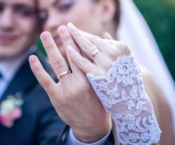 wedding - bride and groom - rings