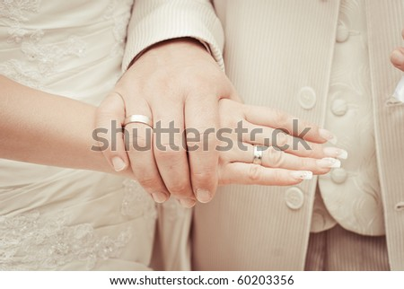 wedding - bride and groom - rings