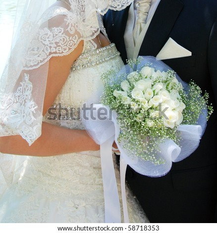 stock photo wedding bride and groom roses