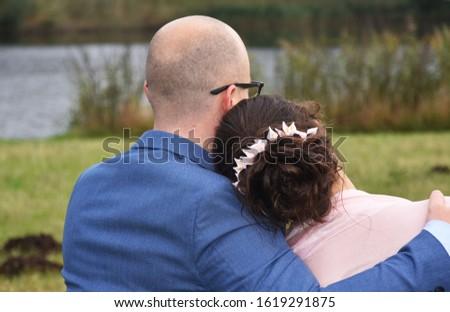 wedding, bridegroom, bride, river, romance, love