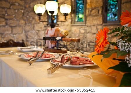 stock photo Wedding buffet inside luxury italian hotel