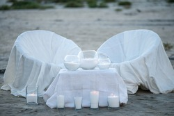 Wedding by the sea. Details of wedding decoration at the seaside. Wedding decor near the place of the wedding ceremony