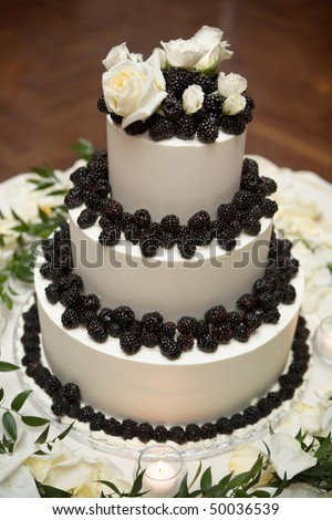 Wedding cake decoraited with berries