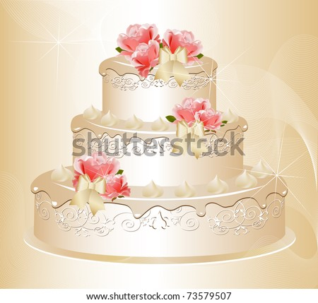 stock photo Wedding cake decorated with pink roses cream floral pattern