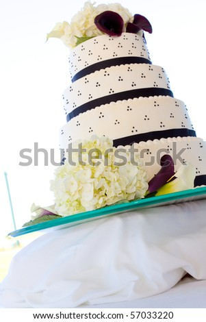 stock photo Wedding cake detail at a marriage ceremony and reception