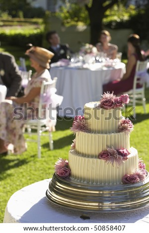 Wedding cake, guests at tables in background