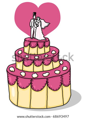 Wedding cake illustration; Wedding cake with bride and groom on top and heart in the background