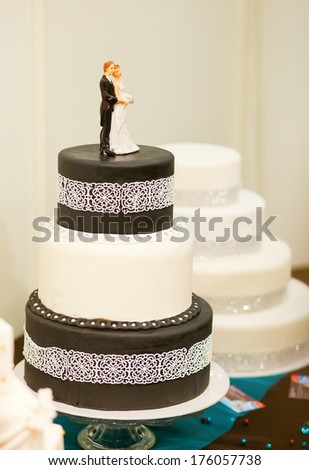 Wedding cake in black and white colors