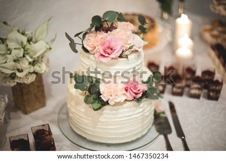 Wedding cake, on the table, desserts