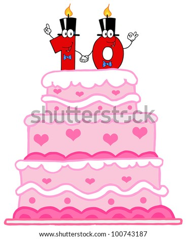 Cake Or Birthday Cake With Number Ten Candles Cartoon Character ...