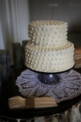 Wedding Cake Vintage Milk Glass Aesthetic Rustic Wedding Photography Swiss Dot Dessert Confection
