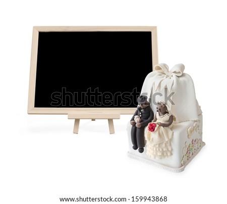 Wedding cake with Blank blackboard