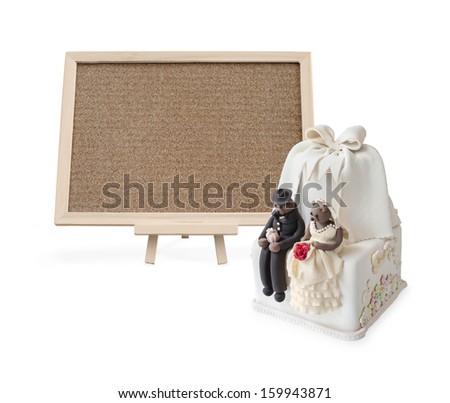 Wedding cake with Blank cork board