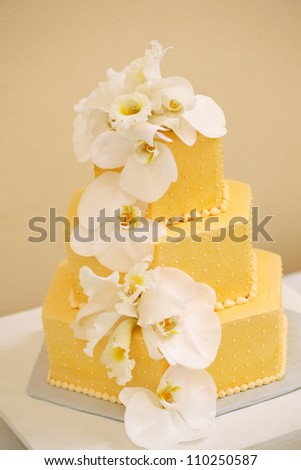 Wedding Cake with White Orchids