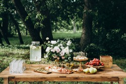 Wedding candy bar in rustic style