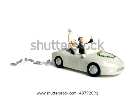 Wedding car cake topper - stock photo