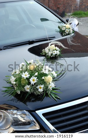 stock photo Wedding car decorated with flowers