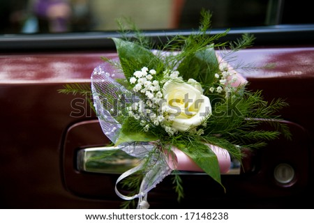 stock photo wedding car decoration