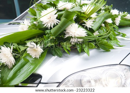 stock photo wedding car decoration