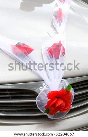 stock photo Wedding car decoration close up