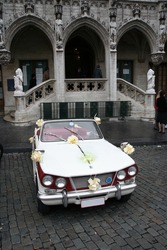 Wedding car in front of city hall in Brussels, Belgium