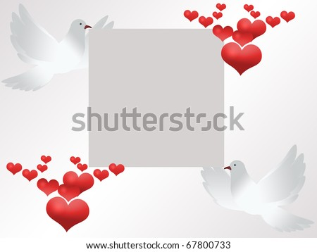 stock photo Wedding card invitation with two white doves