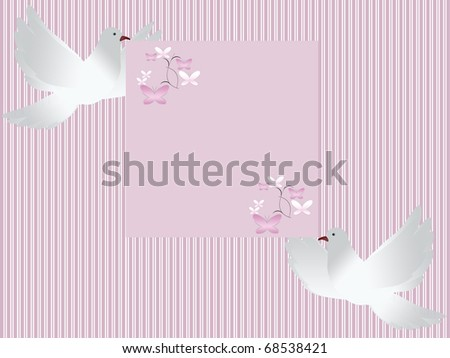 Wedding card invitation with two white doves