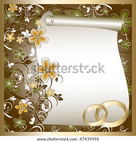 stock photo Wedding card with a floral pattern and place for text