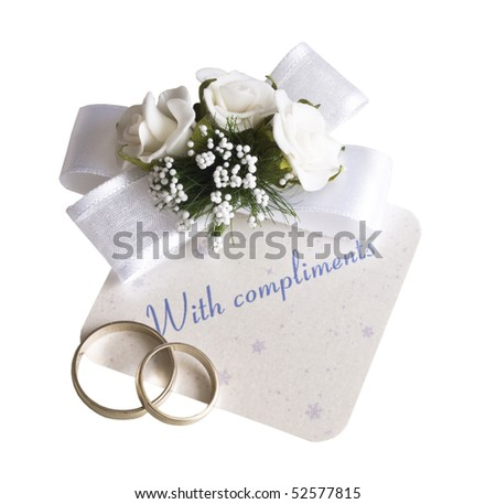 "wedding card ""with compliments"""