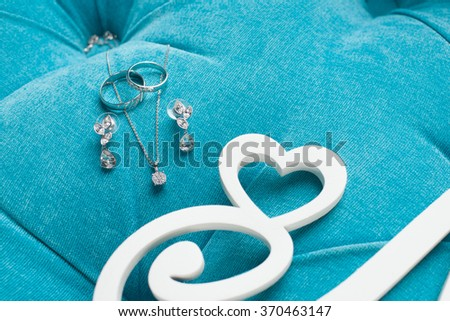 wedding ceremony decor decoration wedding ring earrings flowers #370463147