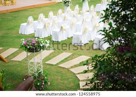 Wedding ceremony in a beautiful garden #124558975