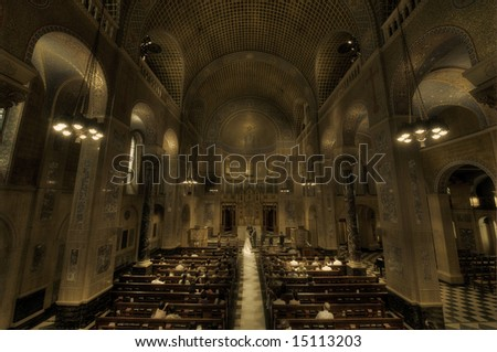 Wedding ceremony in church - sepia - New York - Park Avenue