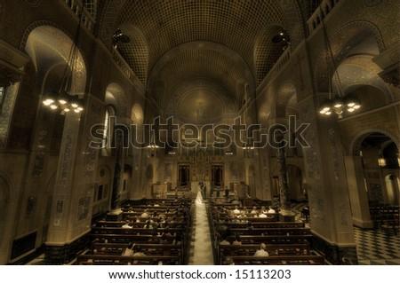 Wedding ceremony in church - sepia - New York - Park Avenue