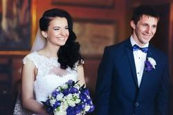 wedding ceremony of  beautiful young gorgeous stylish brunette bride and groom tivoli italy