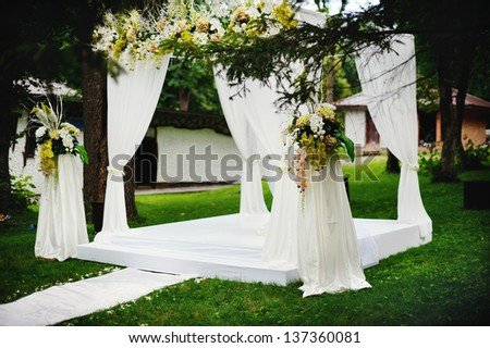 wedding ceremony outside, everything is ready