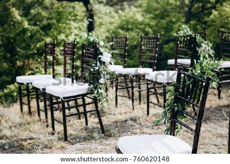 Wedding ceremony place with chairs