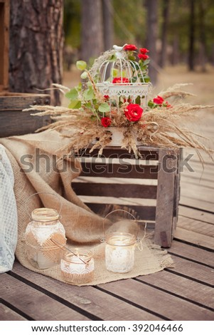 Wedding ceremony & Wedding decorations in rustic style. Romantic decor with candles #392046466