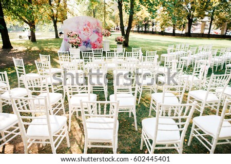 Wedding ceremony with decorations #602445401