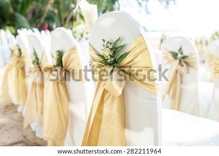 Wedding chairs on the beach at phuket thailand