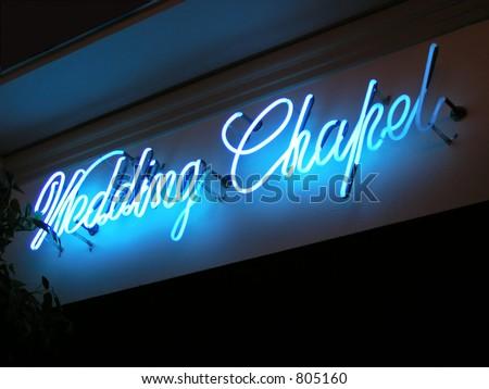 Wedding Chapel sign at Harvey's Casino and Hotel at Lake Tahoe, Nevada