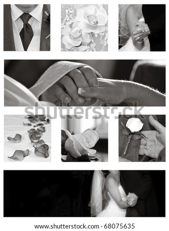 stock photo Wedding collage background collection in black and white