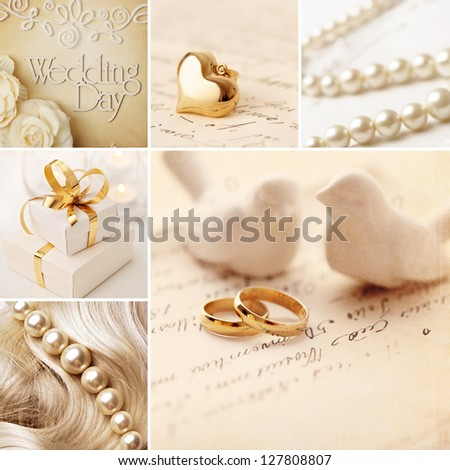 wedding collage decoration with wedding rings