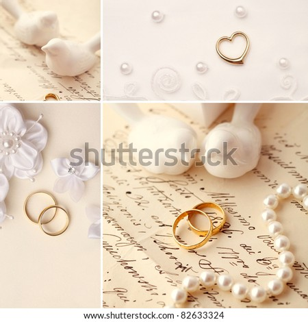 wedding collage - decoration with wedding rings